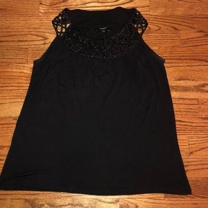 EXPRESS sleeveless black top with beading detail